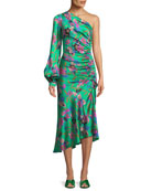 One-Sleeve Shirred Floral-Print Hammered Silk Midi Dress