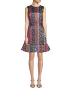 Etro Multi-Ribbon Jacquard Sleeveless Dress with Flounce Hem