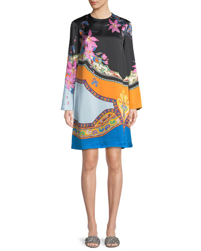 Scarf-Print Long-Sleeve Shift Dress