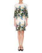 Emma 3/4-Sleeve Mariko Meadow Floral Shift Dress
