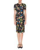 Essie Mariko Meadow Short-Sleeve Floral-Print Fitted Dress
