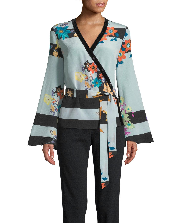 Kimono-Print Wrap Blouse