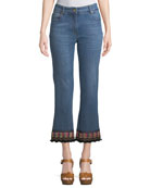 Etro Cropped Jeans w/ Passementrie Detail and Matching