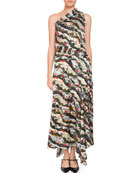 Zainab One-Shoulder Asymmetric Keiko Marble-Print Long Dress with Handkerchief Hem