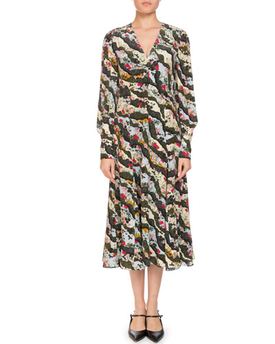 Osiris V-Neck Long-Sleeve Floral-Print Silk A-Line Dress