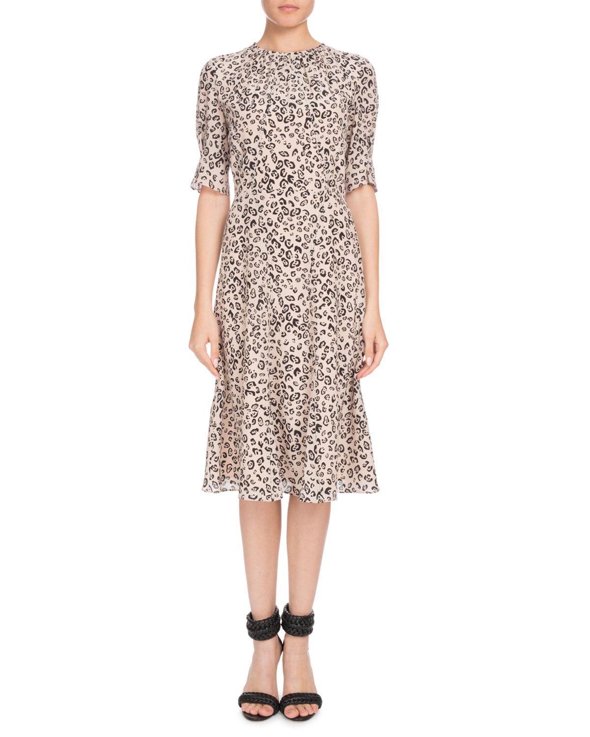 JAE SHIRRED-NECK SHORT-SLEEVE LEOPARD-PRINT SILK DRESS