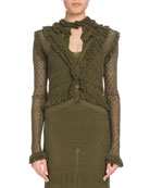 Kozmic Button-Front Long-Sleeve Ruffled Pointelle Lace Knit Cardigan