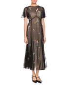Kathryn Cape-Sleeve Beaded-Floral Sheer Tulle Dress