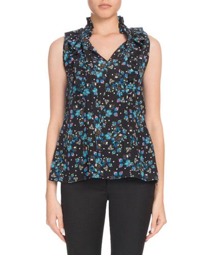 Choukri Sleeveless Floral Vine-Print Ruffled Silk Tunic