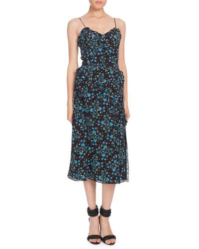 Sleeveless Vine-Print Crepe de Chine Midi Dress