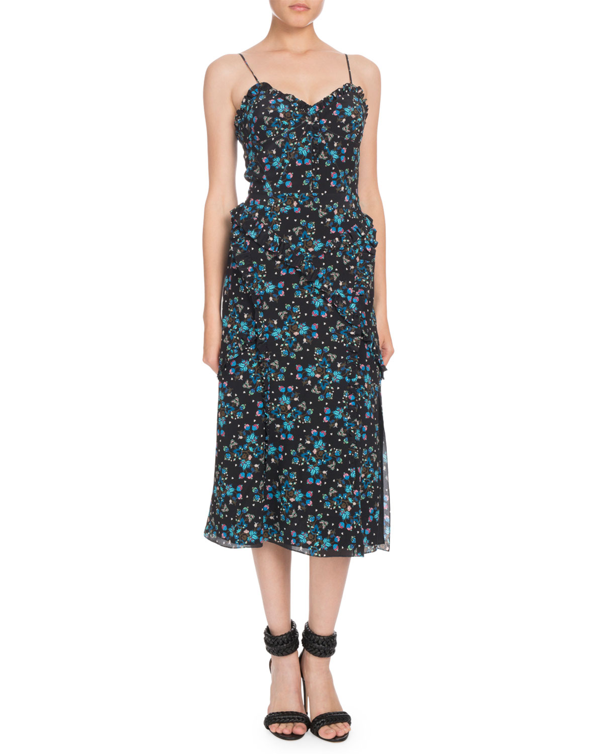 Menara Ruffled Printed Silk Crepe De Chine Dress in Black