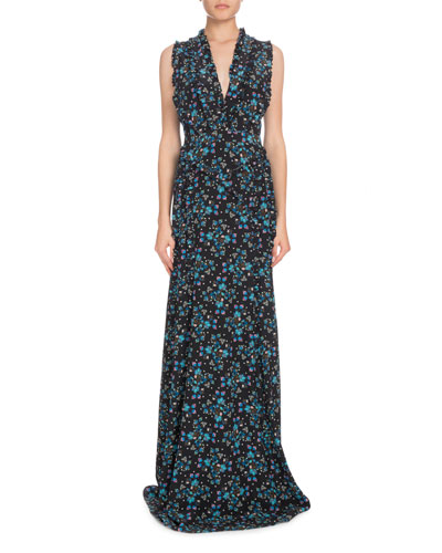 V-Neck Sleeveless Vine-Print Long Evening Gown w/ Ruffled Trim