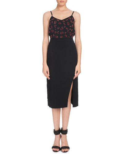 V-Neck Spaghetti-Strap Beaded-Bodice Cocktail Dress