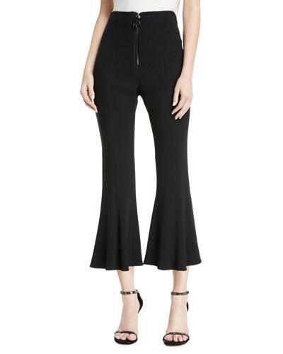 High-Waist Cropped Flare Pants w/ Dual Zip