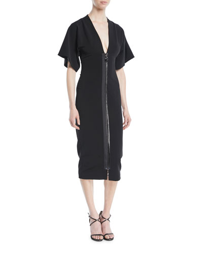 Deep-V Two-Way Zip Kimono-Sleeve Midi Dress