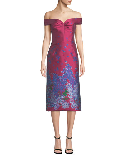 1b416a979f Quick Look. Carolina Herrera · Off-the-Shoulder Sweetheart Neckline  Floral-Jacquard Cocktail Dress