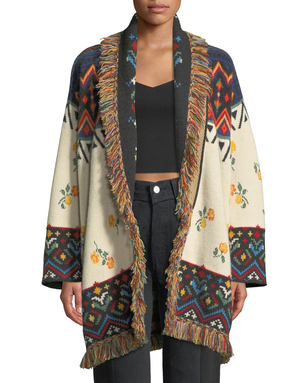 Greenland Self-Belt Floral-Intarsia Cashmere Cardigan W/ Fringe in White
