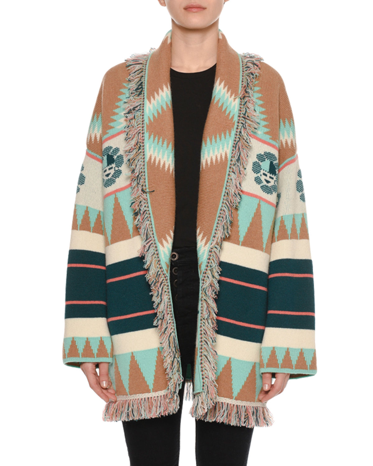 New Icon Self-Belt Jacquard Cashmere Cardigan in Multicoloured