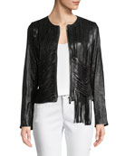 Zip-Front Draped-Fringe Lamb Leather Jacket