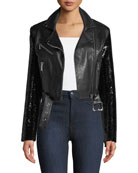Let's Dance Cropped Leather Jacket w/ Sequin Sleeves