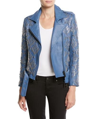 Mary-Jane Zip-Front Studded Lamb Leather Moto Jacket
