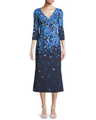 Carolina Herrera V-Neck 3/4-Sleeve Floral-Print Midi Cocktail