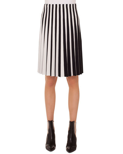 Stripe Pleated Knee-Length Skirt
