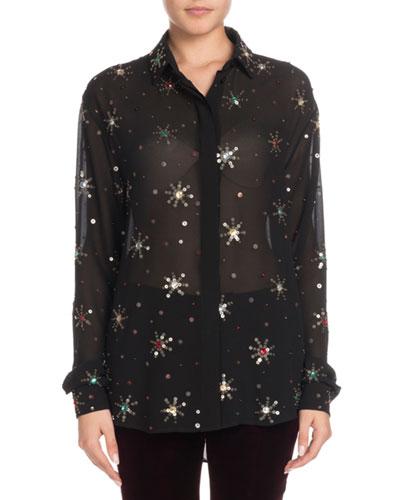 347f6650494 Quick Look. Saint Laurent · Multicolor Starburst-Embellishment Button-Down  Long-Sleeve Silk Blouse