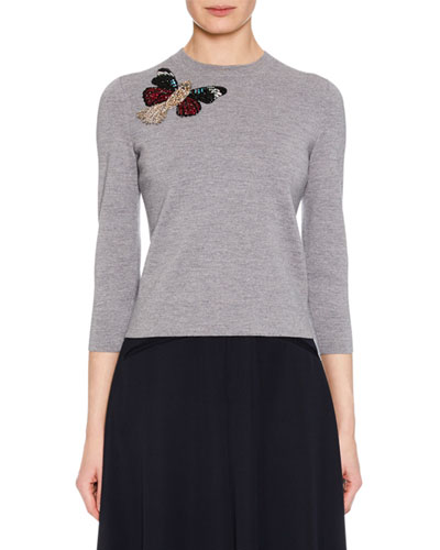 Crewneck 3/4-Sleeve Milano Wool Knit Sweater w/ Moth Embellishment