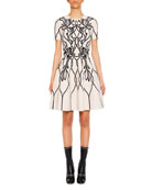Short-Sleeve Graphic-Art Fit-and-Flare Cocktail Dress