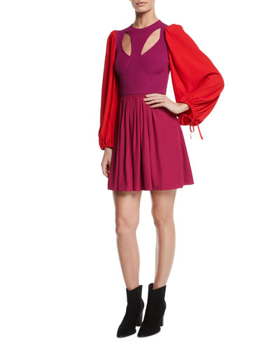 Harness Cutout-Front Balloon-Sleeve Fit-and-Flare Mini Dress