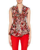 Sleeveless Feather Fil-Coupé Ruffled Blouse