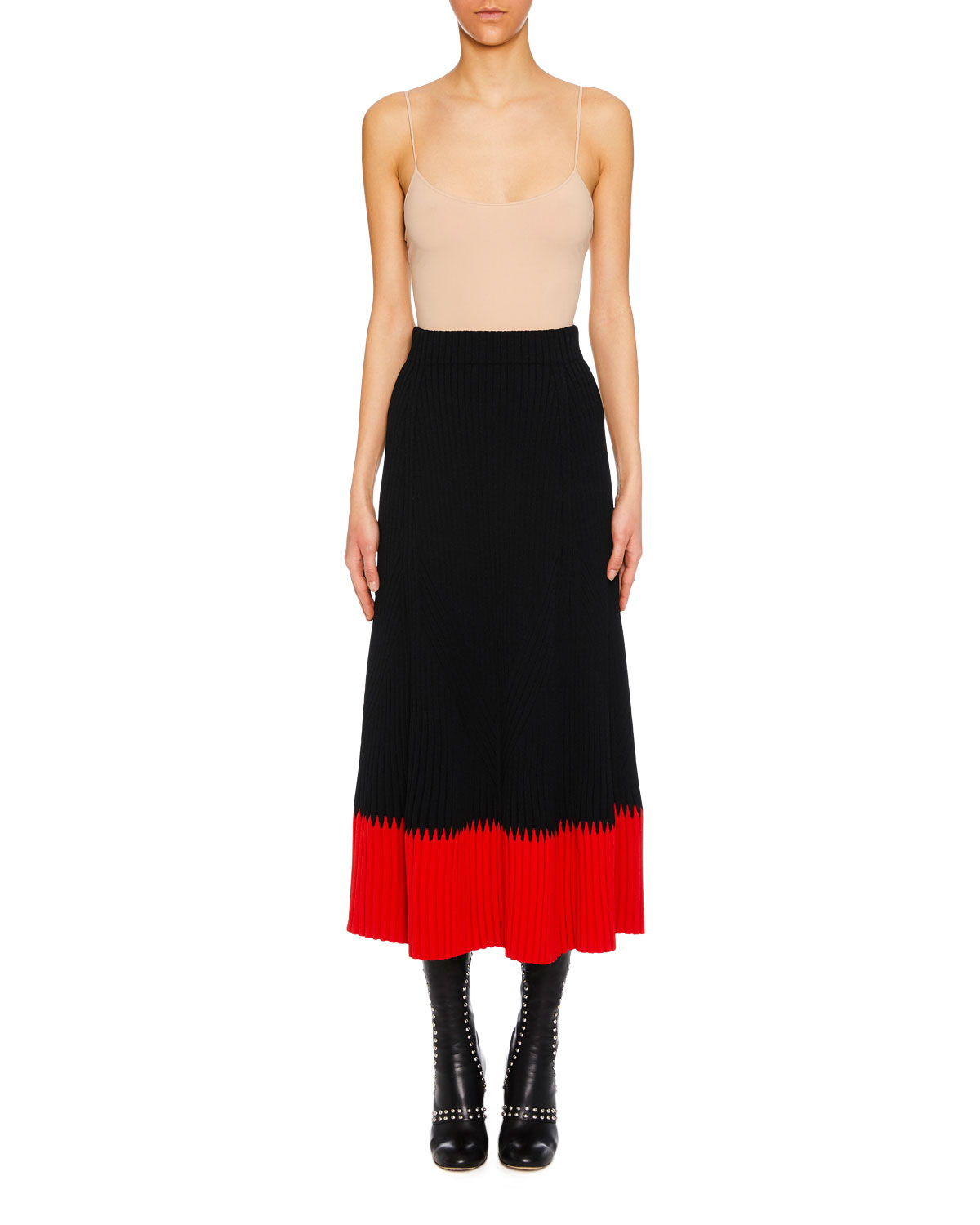 A-Line Long Ribbed Skirt W/ Contrast Tip in Black