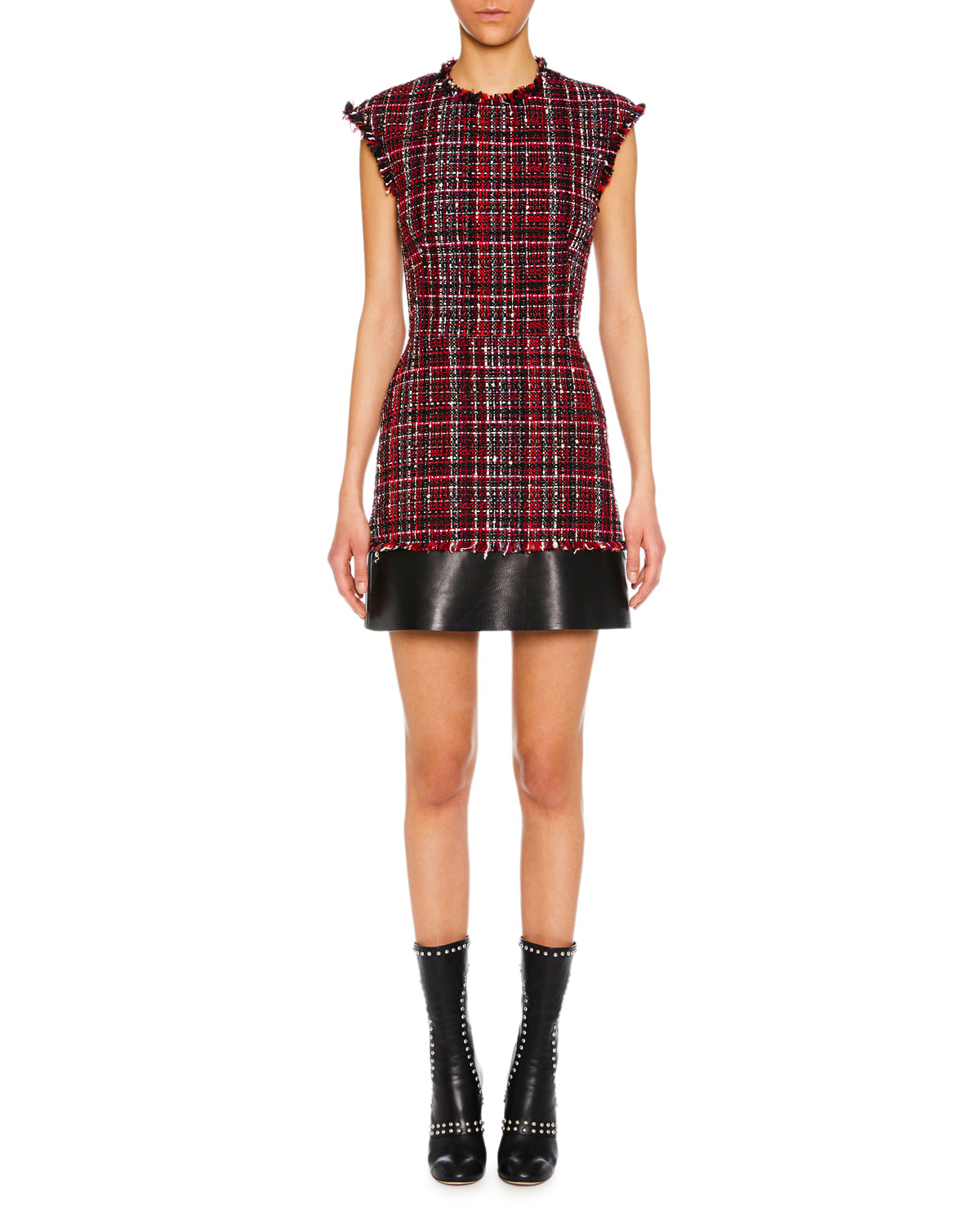 Cap-Sleeve Tweed Short Dress With Leather Trim in Black