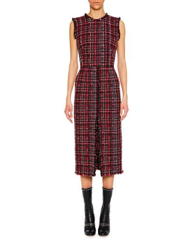 Sleeveless Tweed Slit-Front Midi Pencil Dress