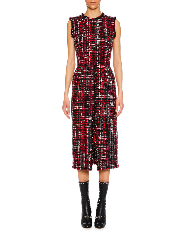 Sleeveless Tweed Slit-Front Midi Pencil Dress, Black Pattern from ALEXANDER McQUEEN