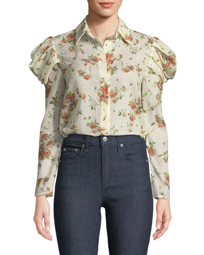 Tanner Button-Front Voluminous-Sleeve Rose-Print Cotton Blouse