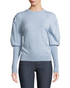 Brock Collection Crewneck Puff-Sleeve Cashmere Sweater