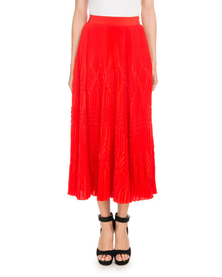 Givenchy Mid-Calf Silk-Blend Plisse Skirt