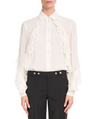 Givenchy Long-Sleeve Button-Front Silk Georgette Blouse w/ Ruffle