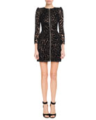 Chantilly Lace Leopard Zip-Front Dress