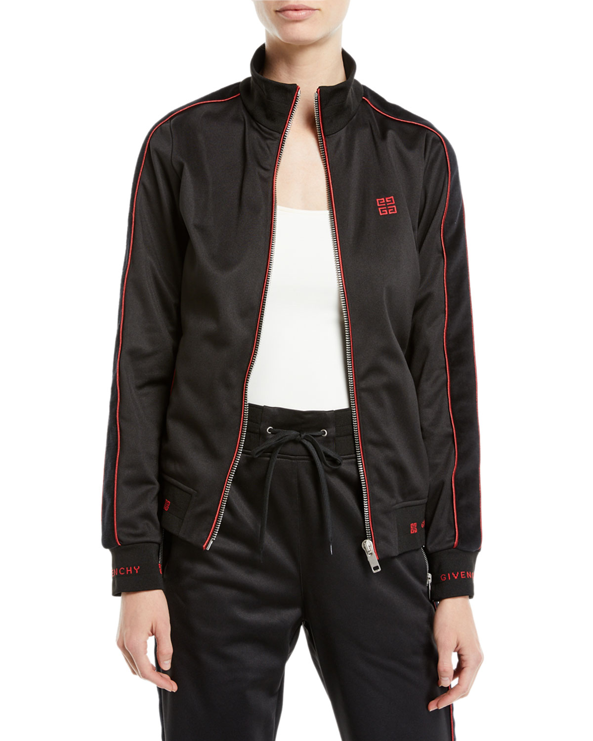 Zip-Front Velvet Side-Stripe Gg-Logo Tech Jersey Track Jacket, Black/Red
