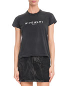 Givenchy Paris Short-Sleeve Destroyed Logo Cotton T-Shirt