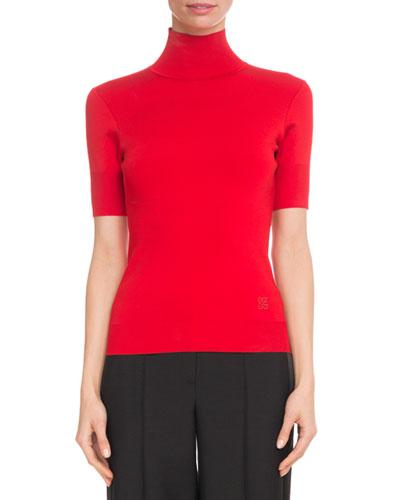 Short-Sleeve Turtleneck Viscose-Knit Top