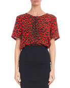 Givenchy Short-Sleeve Leopard-Print Silk Crepe de Chine Blouse