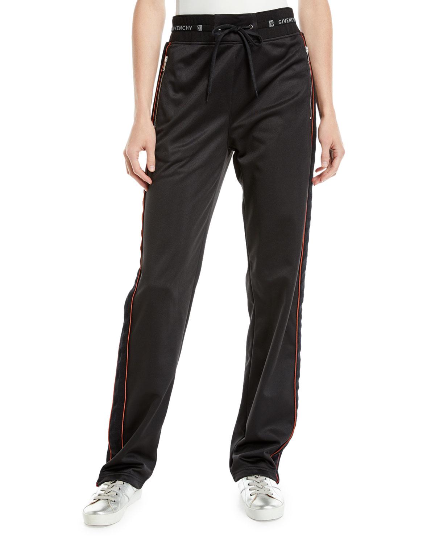 Velvet Side-Stripe Drawstring Track Pants