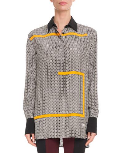Allover GG-Print Long-Sleeve Button-Front Silk Blouse