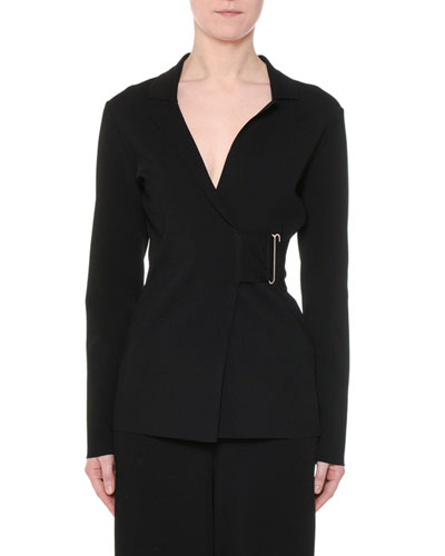 Notched-Collar Heavy Viscose Wrap Jacket w/ Golden Bar