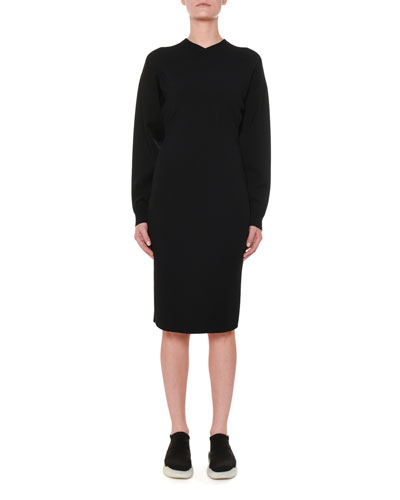Long-Sleeve Fitted Jersey Dress