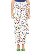 Bird-Print Straight-Leg Poplin Pants w/ Self-Tie Belt